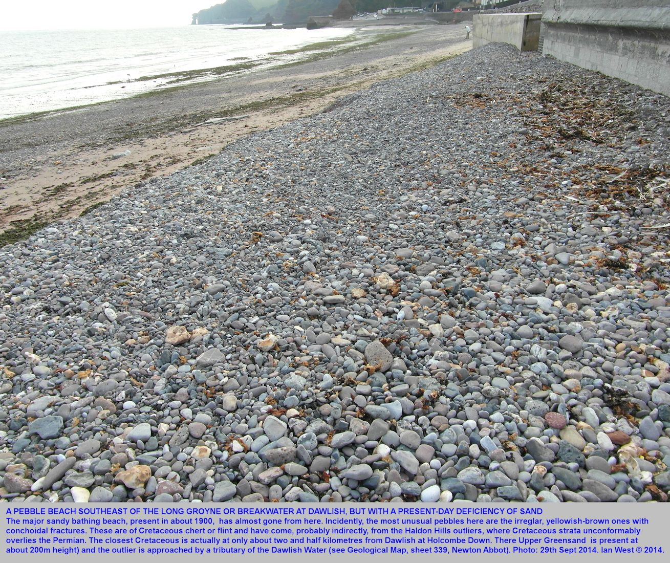 A pebble beach southeast of the major breakwater or groyne, Dawlish, Devon, 29th September 2014