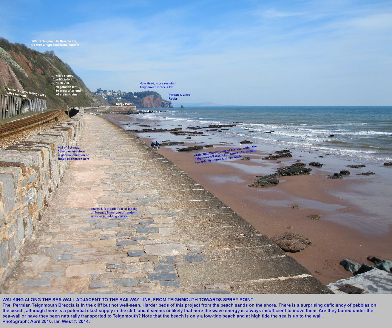 Walking northeastward from Teignmouth, Devon above the sea wall, adjacent to the railway, and towards Sprey Point, at low tide