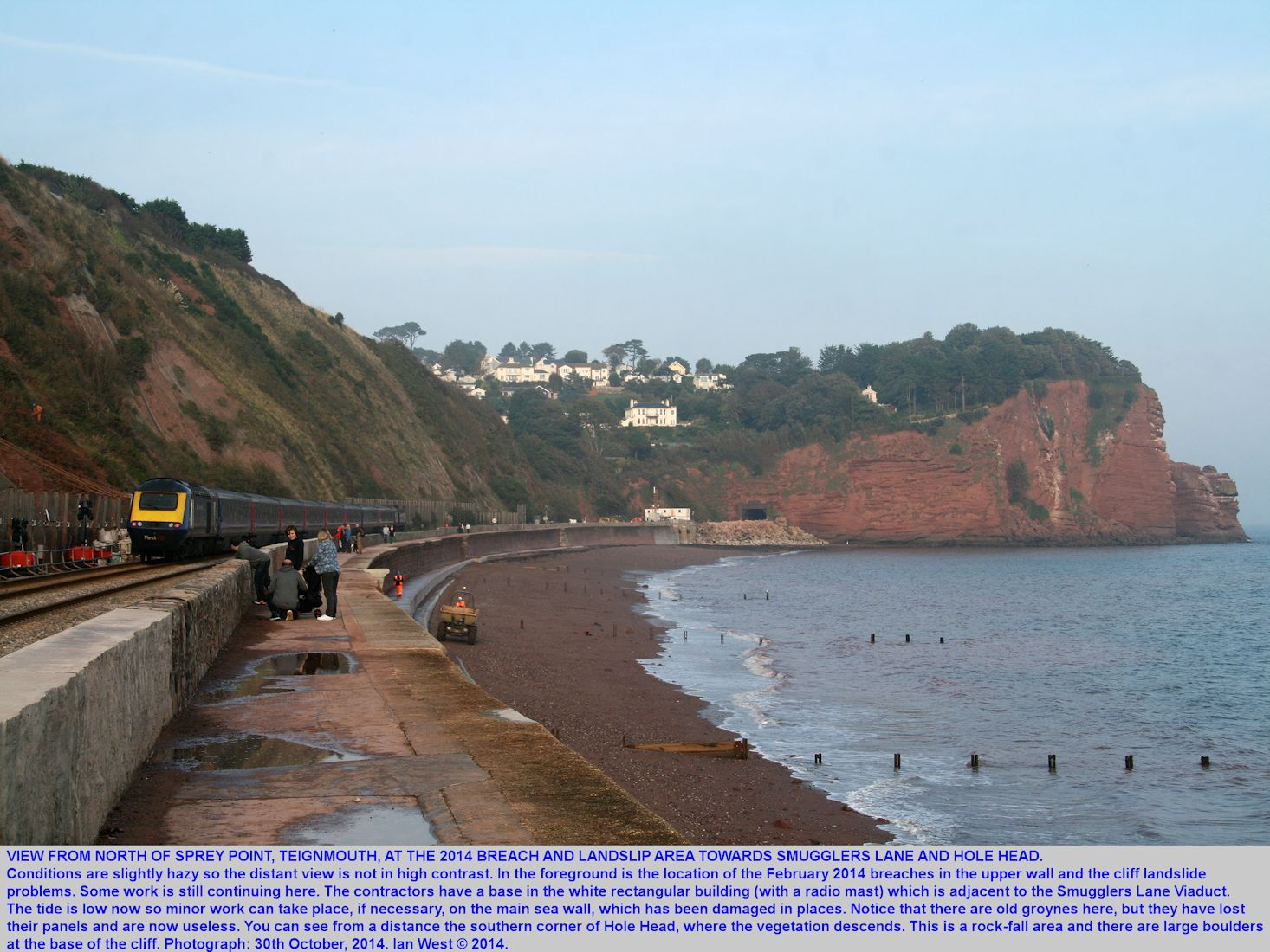 A view northward from the landslip area of 2014, north of Sprey Point, Teignmouth, towards Smugglers Lane and Hole Head Dawlish, Devon