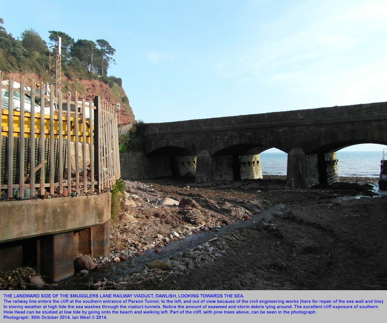 The Smugglers Lane Viaduct, adjacent to the southern entrance of the Parson Tunnel and the good cliff exposure at the southern part of Hole Head, Dawlish,  Devon, 30th October 2014, by Ian West