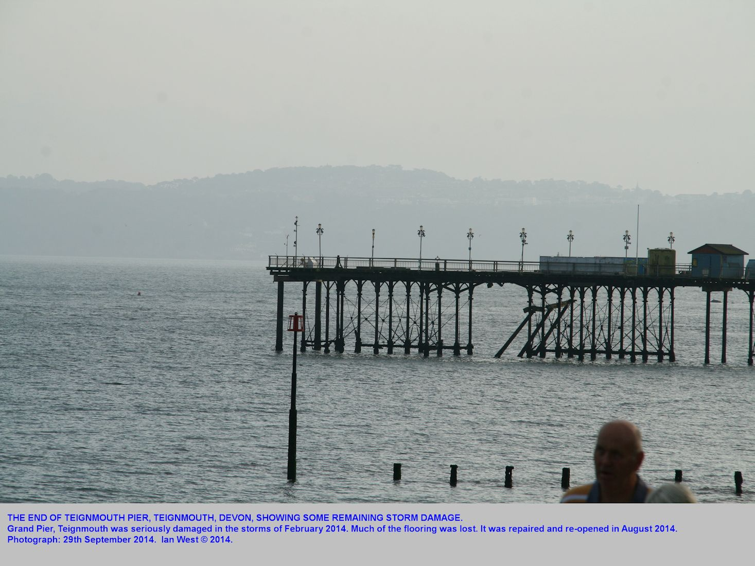 Teignmouth Pier was extensively damaged in the February 2014 storm but reopened later in the year, with still some damage, Teignmouth,  Devon, photo September 2014