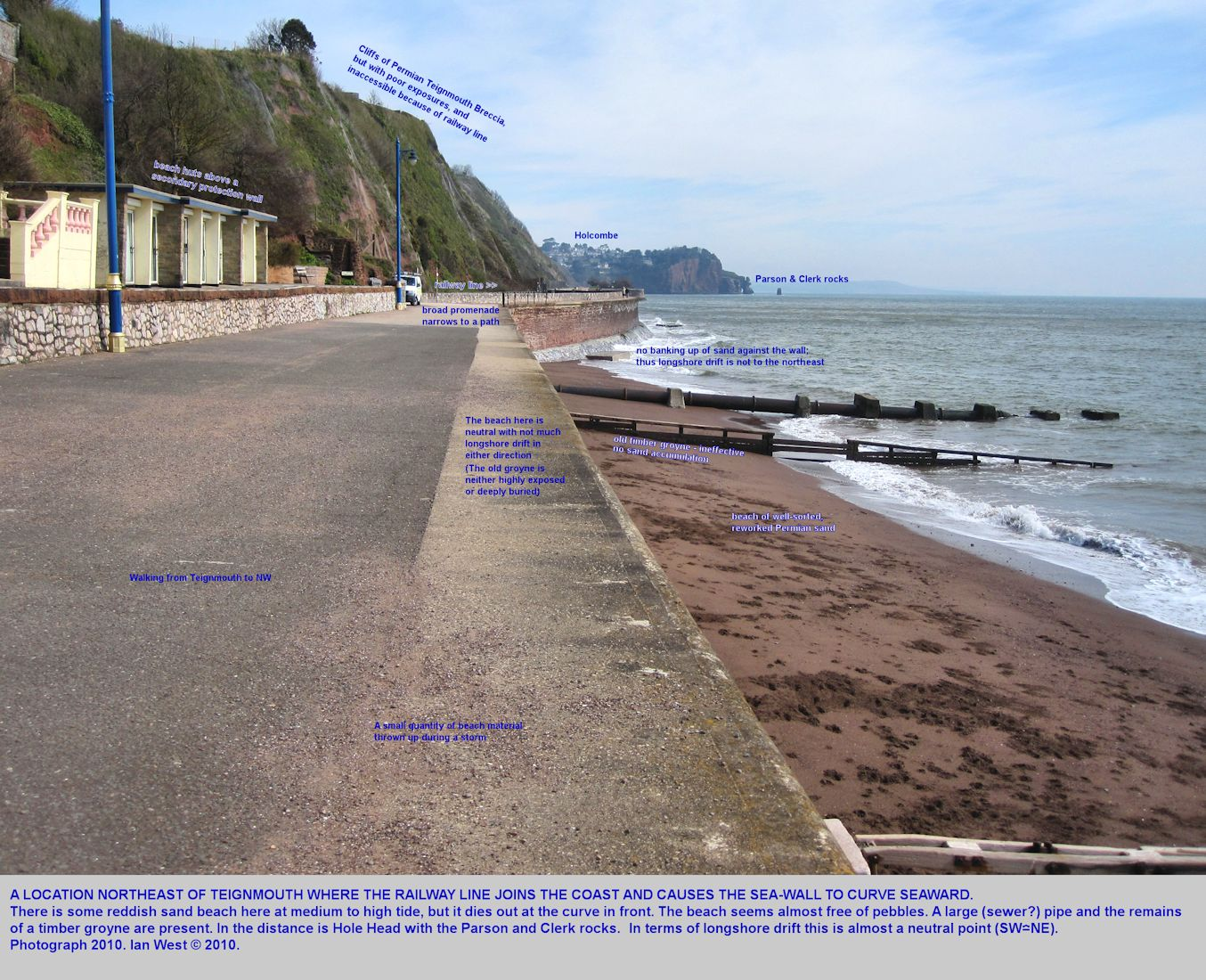 The curving railway line joins the sea-wall at the northeastern part of Teignmouth, Devon, at a place where longshore drift is almost absent, a neutral point