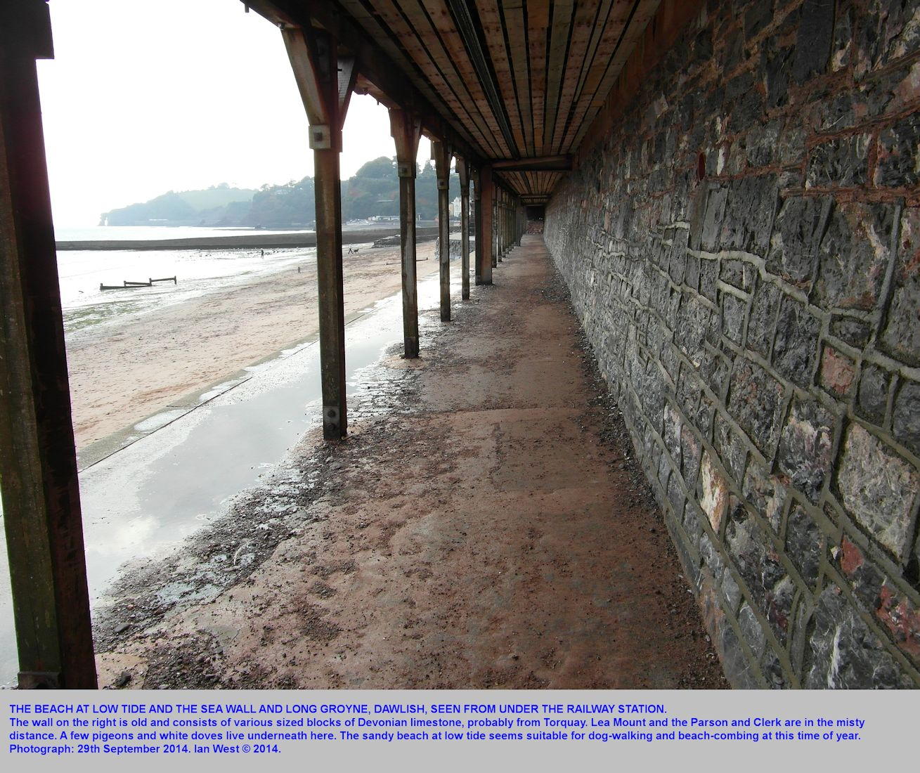 The beach at Dawlish seen from beneath the Railway Station at Dawlish, Devon, 29th September 2014