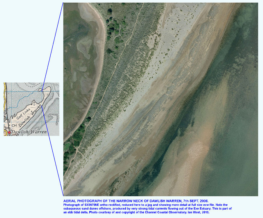 Aerial photograph showing the narrow neck of the Dawlish Warren sand spit, Devon, in September 2006