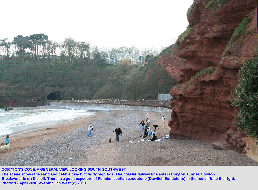 A general view of Coryton's Cove, Dawlish, Devon, with Permian sandstone, 12th April 2010