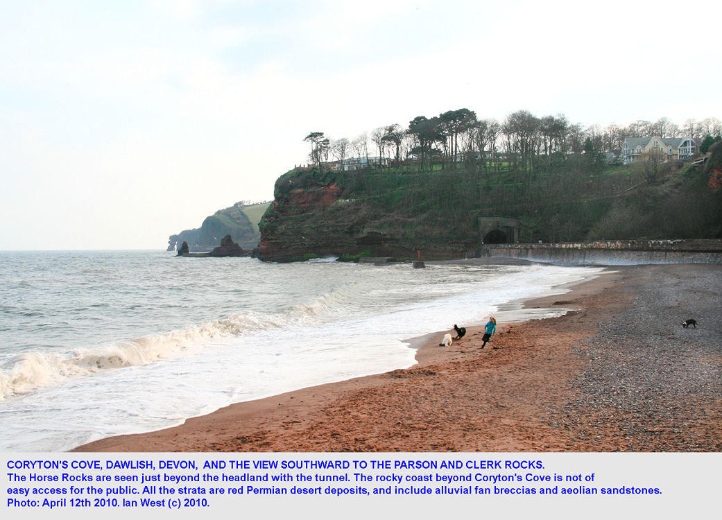 Coryton's Cove beach and the view southward to the Horse Rocks and the Parson and Clerk Rock, Dawlish, Devon, 2010