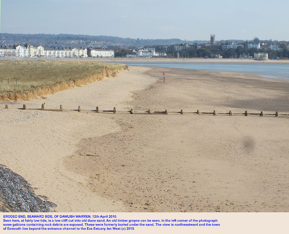The end of Dawlish Warren, Devon, seaward side, as seen on April 12th 2010, with a view of Exmouth in the distance