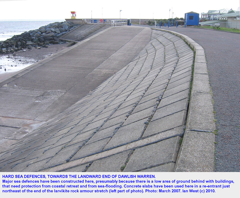 Hard sea defences near the landward end of Dawlish Warren, Devon, where there are buildings on low ground, 2007
