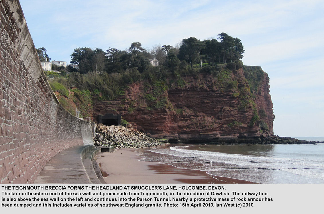Southwestern Hole Head near Smugglers Lane, with a vertical cliff exposure of Teignmouth Breccia, near Dawlish, Devon, 15th April 2010