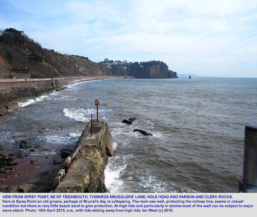 From Sprey Point, northeast of Teignmouth, Devon, a view northeast towards Hole Head and the Parson and Clerk Rocks, 15th April 2010