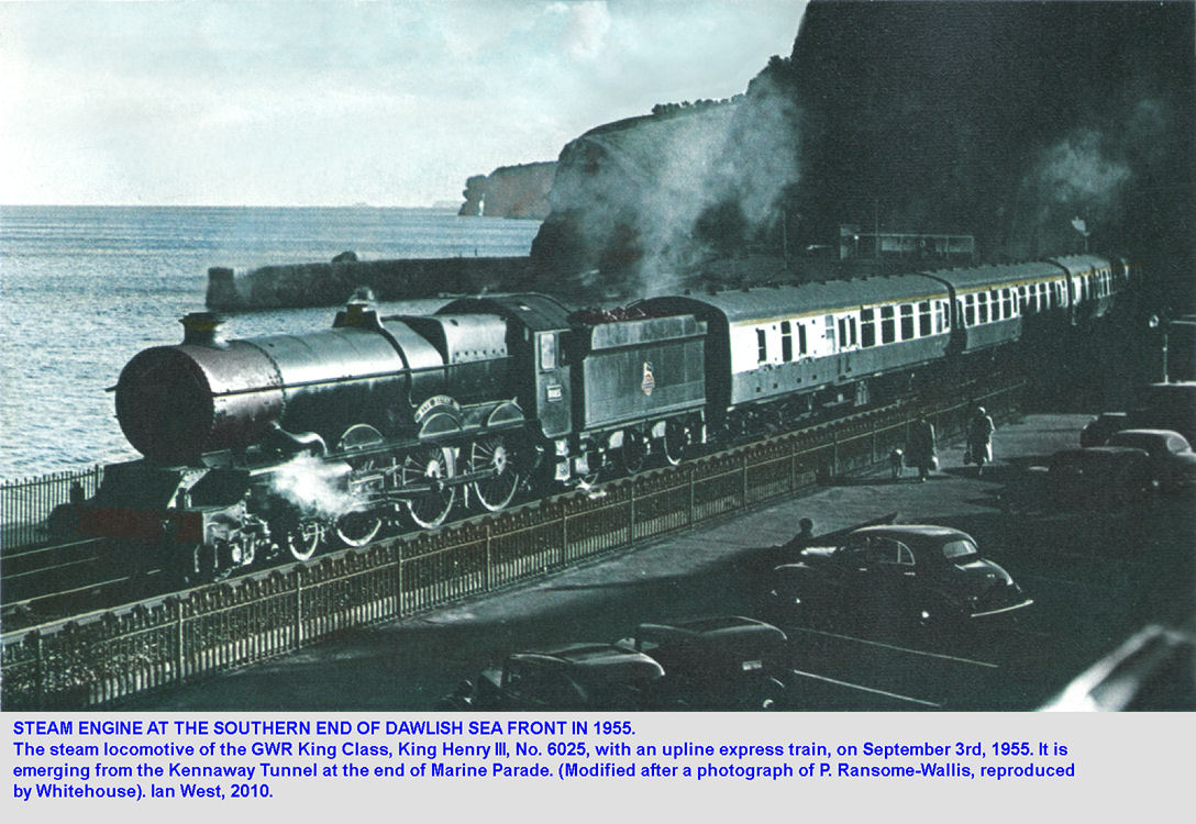 A train with a steam locomotive emerges from Kennaway Tunnel, Marine Parade, Dawlish, Devon, in September 1955