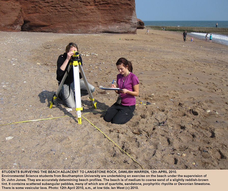 Students from Southampton University surveying the beach near Langstone Rock, Dawlish Warren, Devon, April 2010