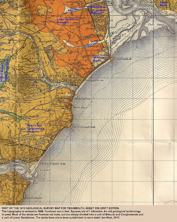 Part of the 1913 Geological Survey map, Sheet 339, Teignmouth, Devon, Drift edition