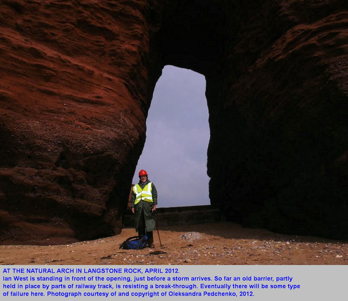 Ian West at the natural arch, Langstone Rock, near Dawlish Warren, Devon, April 2012