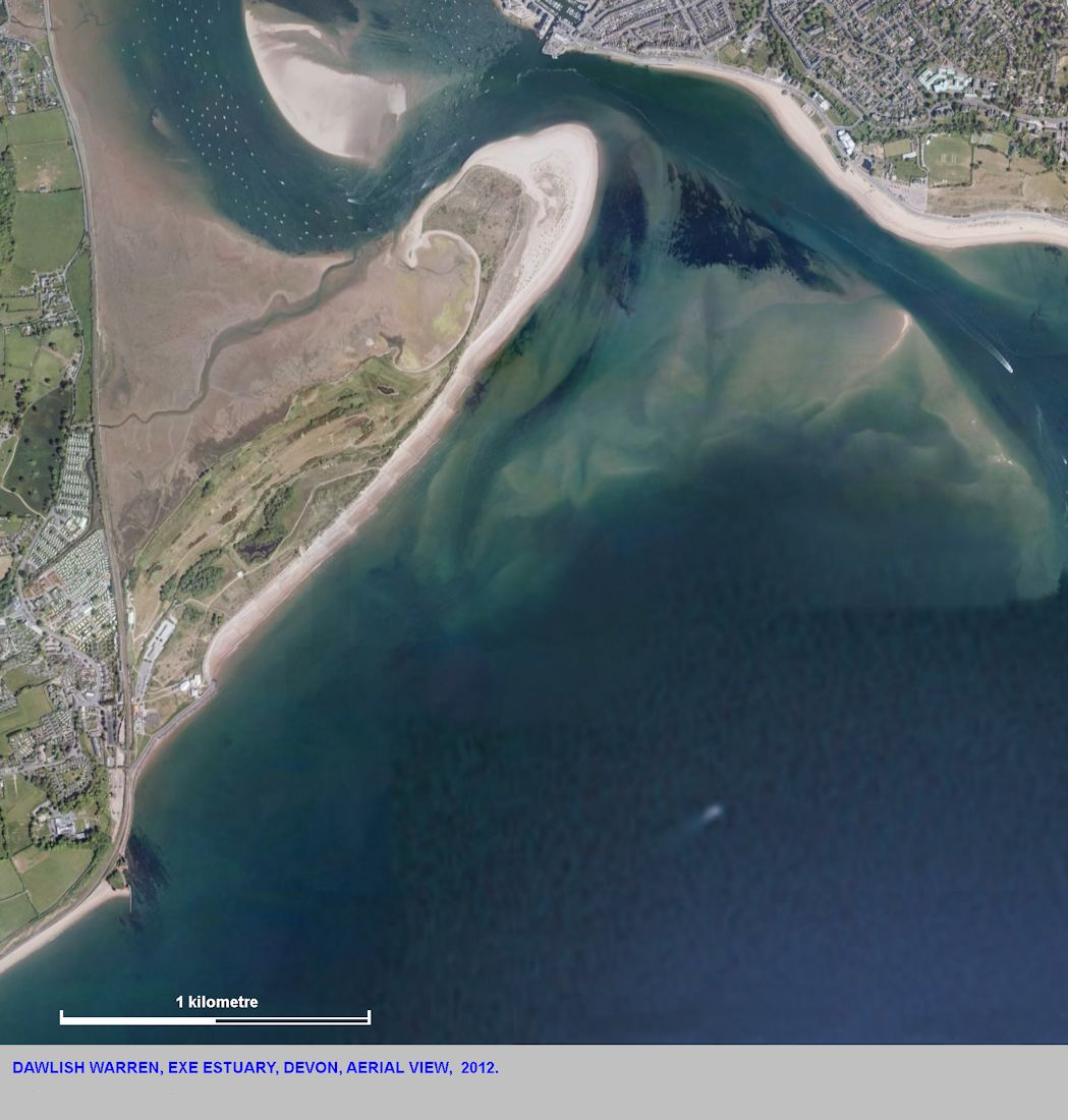 Dawlish Warren, Exe Estuary, Devon, aerial view 2012, modified after GE