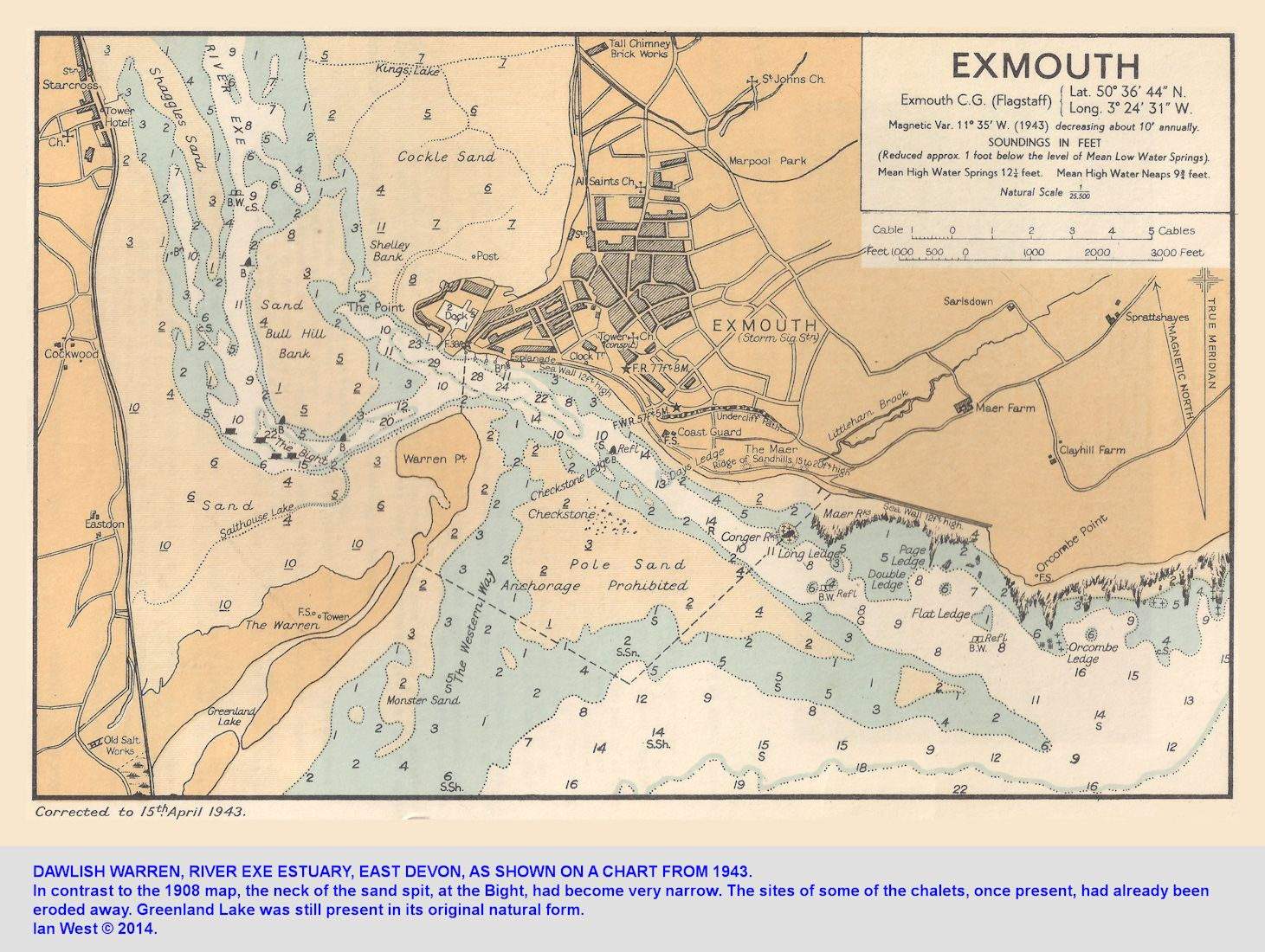 A chart of Dawlish Warren, River Exe Estuary, East Devon as in 1943