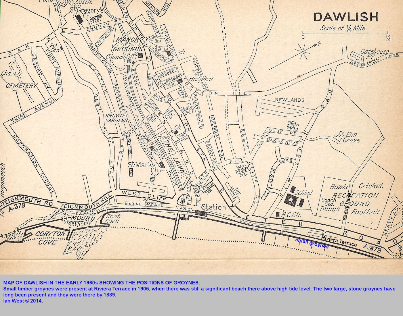 An early 1960s map of Dawlish, Devon, showing the coast with groynes
