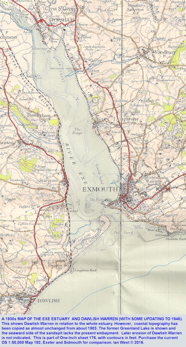 An old, 1930, map of the Exe Estuary showing Dawlish Warren, Devon, but with old coastline shown, now much eroded