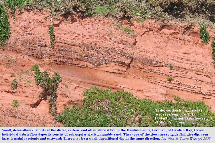 Small channels at the base of debris flow deposits in the Dawlish Sand, Permian, Dawlish Bay, Devon