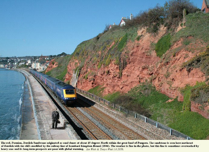 Train on the coastal line that runs northeastward from Dawlish, Devon, with Permian, aeolian, sandstone cliffs at the back, 8th April 2008