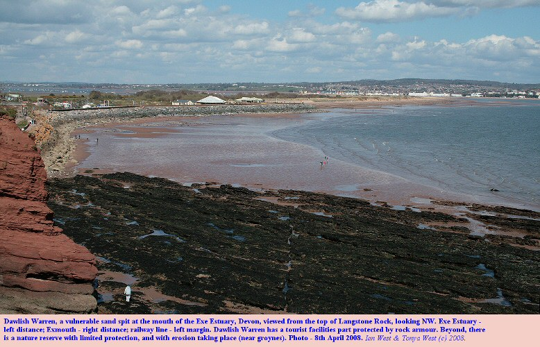 Dawlish Warren, Devon, a vulnerable sandspit at the mouth of the Exe Estuary, now threatened by sea-level rise from global warming
