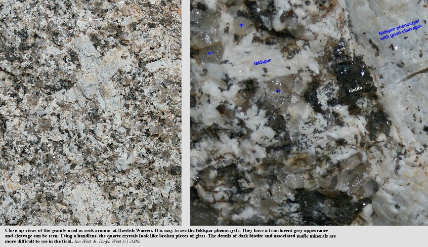 Close-up views of southwest England granite, used as rock armour at Dawlish Warren, Devon
