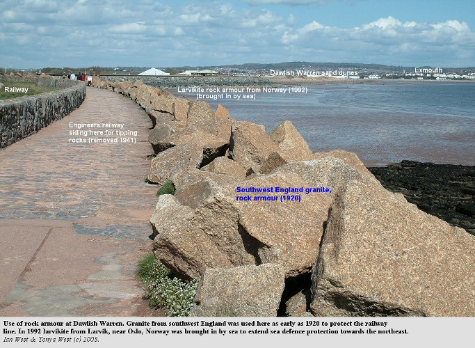 Granite and larvikite rock armour at Dawlish Warren, Devon, 2008