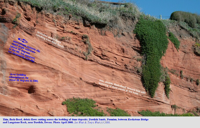 Minor flash flood, debris flows cutting across dune sand deposits, Dawlish Bay, Devon, 2008