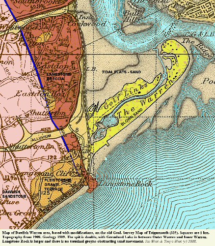 Old geological map of the area around Dawlish Warren, Devon, UK