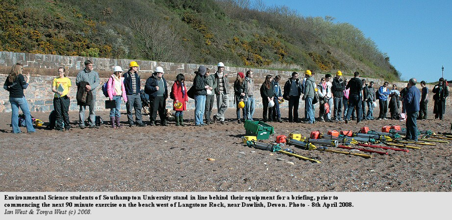 Environmental Science receive a briefing prior to commencing a surveying project, west of Langstone Rock, near Dawlish, Devon, April 2008