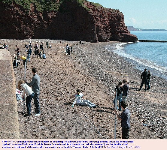 Beach surveying by students, just west of Langstone Rock, near Dawlish, Devon, April 2008