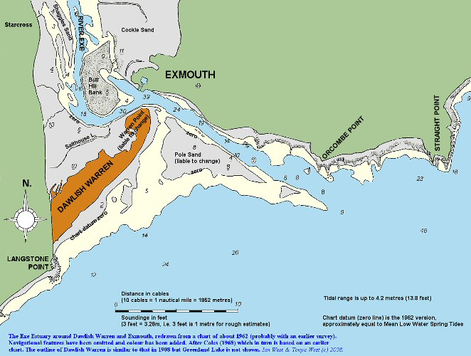 Old chart of the Exe Estuary, Exmouth and Dawlish Warren, Devon