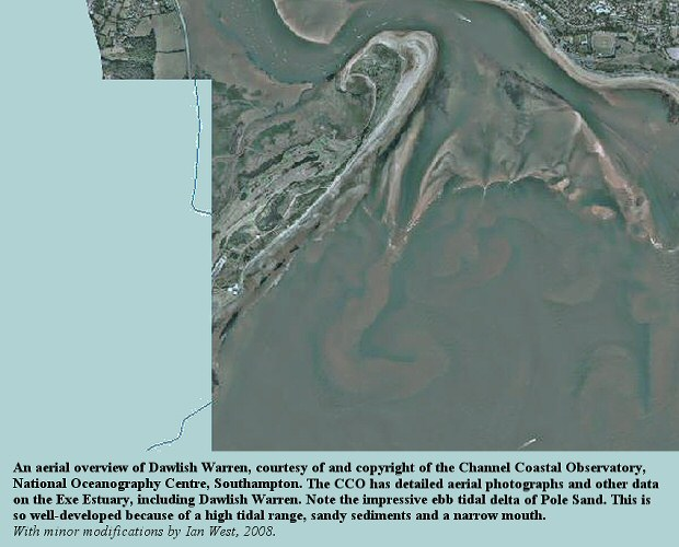 An aerial overview of Dawlish Warren and part of the Exe estuary, Devon, courtesy of the Channel Coastal Observatory, National Oceanography Centre, Southampton