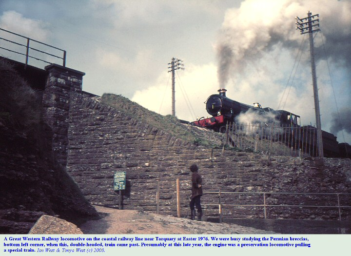 East Devon coastal railway, with a Great Western Railway locomotive, Easter, 1976, Torquay, Devon