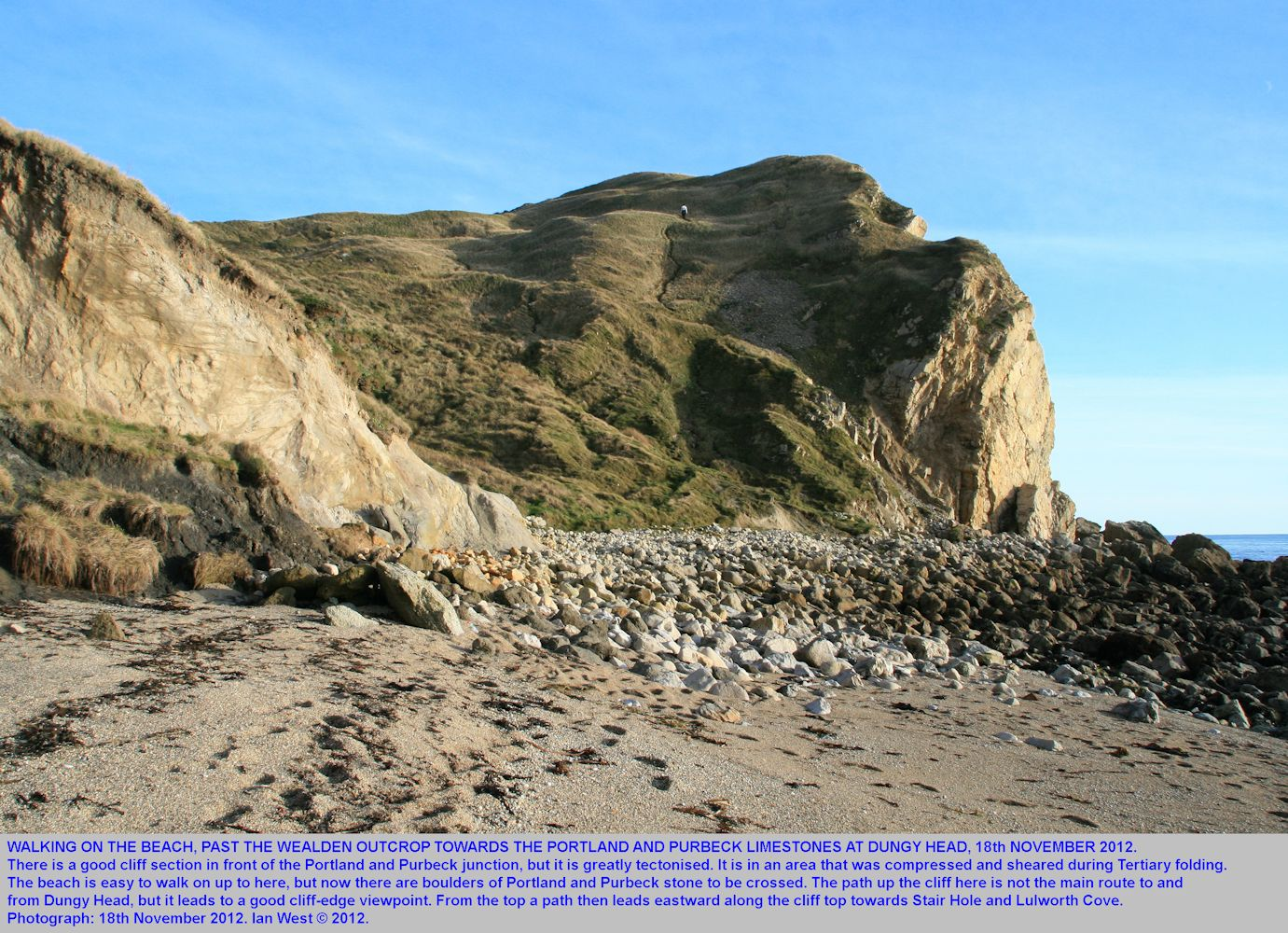 A view of Dungy Head with Portland and Purbeck limestones, seen from the beach at the Wealden outcrop, 18th November 2012