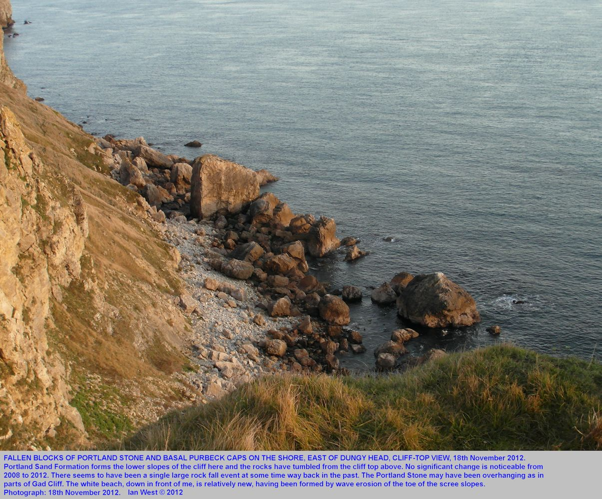 Fallen rocks east of Dungy Head, near Lulworth Cove, seen in evening light, 18th November 2012
