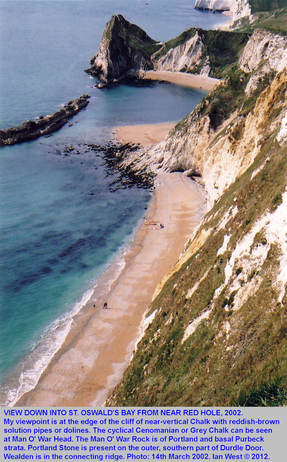 A view from the cliff edge of the Chalk Cliff above St. Oswald's Bay, looking towards Man O' War rock and Durdle Door, 14th March 2002, revised