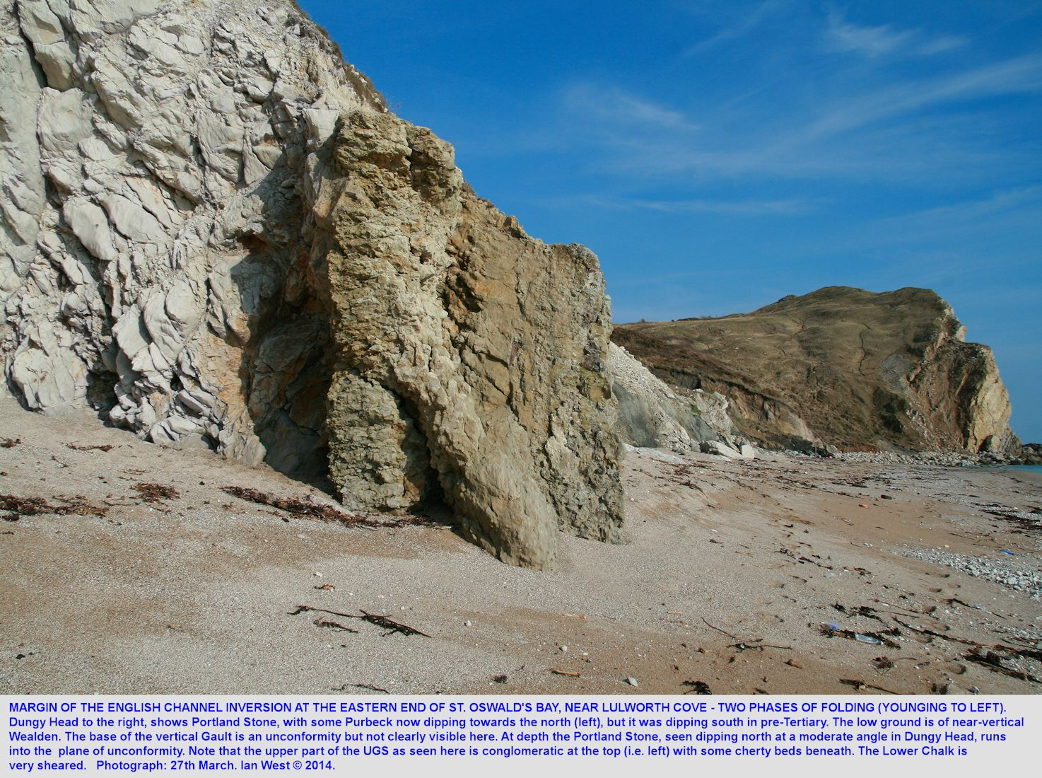The Portland Stone, slumped Wealden, Gault and well-exposed Upper Greensand and sheared Lower Chalk at the eastern end of St. Oswald's Bay and at Dungy Head, near Lulworth Cove, unlabelled photograph, 27th March, 2014