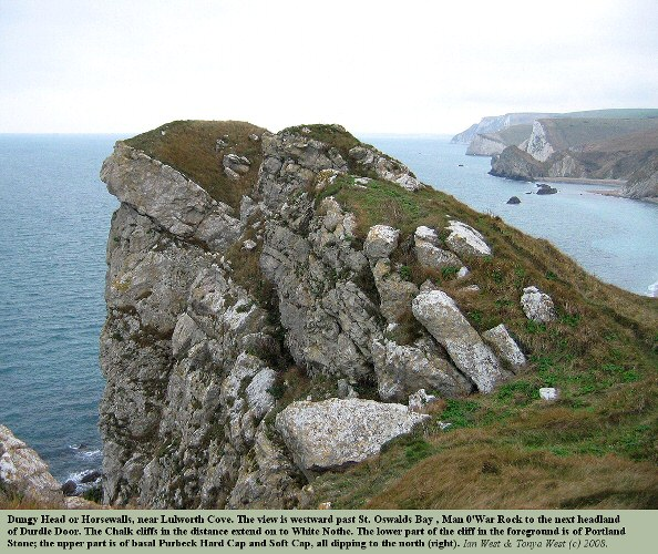 The high Purbeck and Portland limestone crags of Dungy Head, near Lulworth Cove, Dorset, 2008