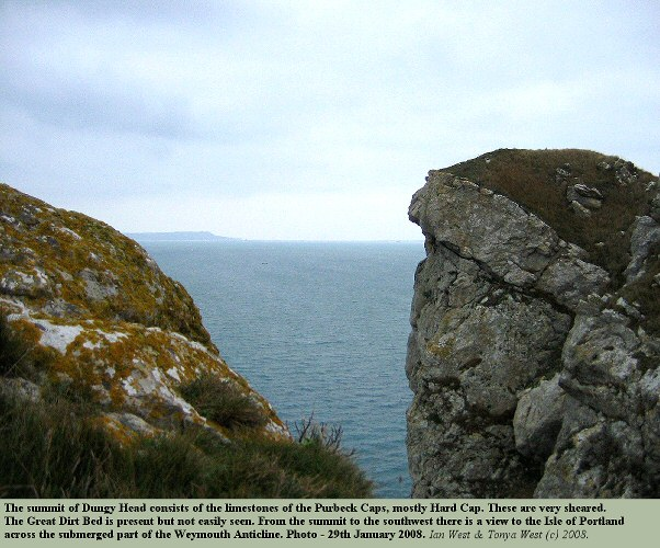 The Purbeck Caps, forming the summit rocks of Dungy Head, near Lulworth Cove, Dorset, 2008