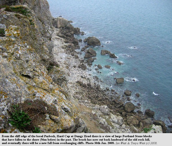 Looking down from Dungy Head, near Lulworth Cove, Dorset, to large fallen blocks of Portland Stone