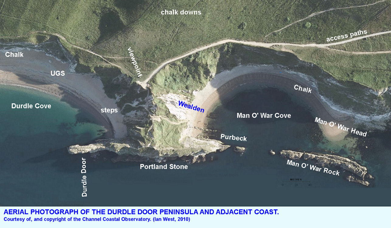 A general aerial photograph of the Durdle Door peninsula and adjacent coast, near Lulworth Cove, Dorset, courtesy of the Channel Coastal Observatory
