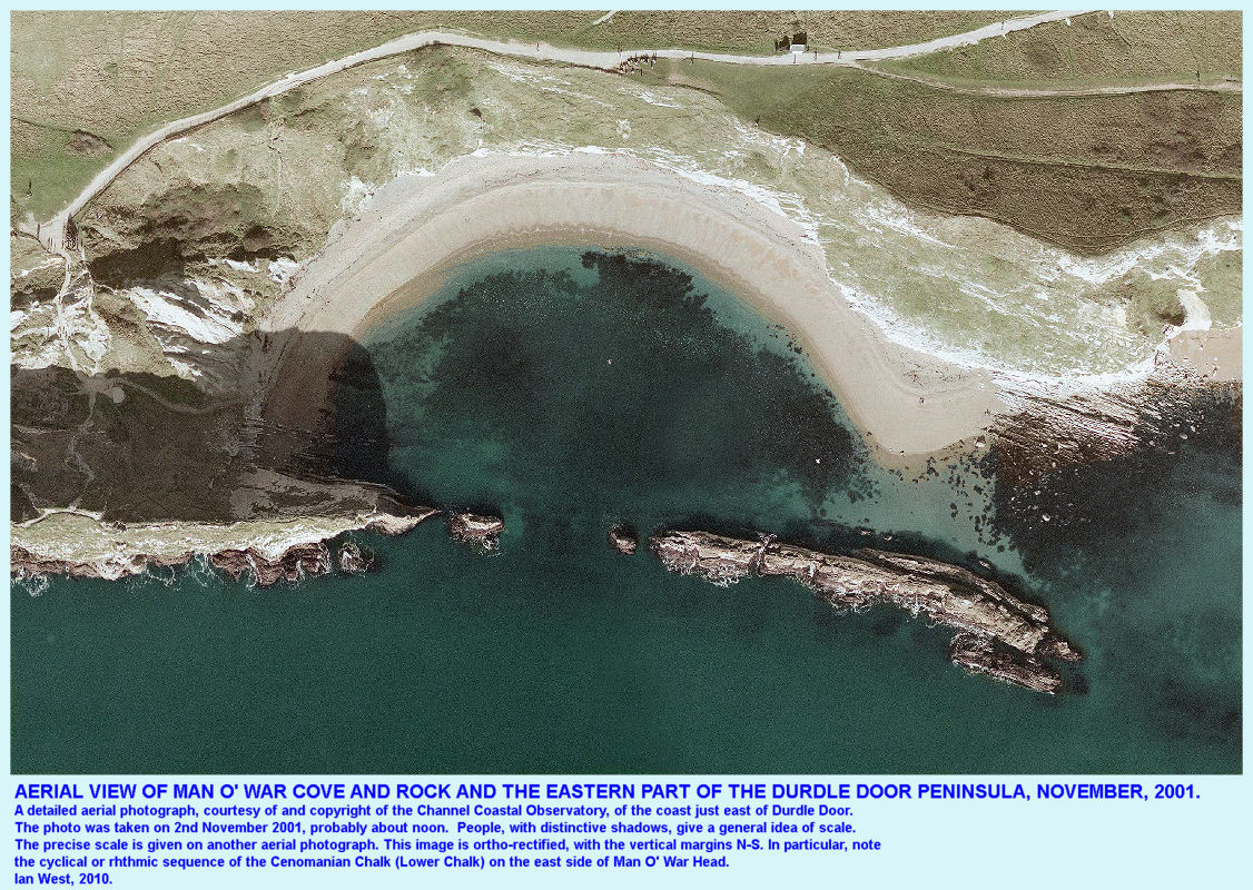 A detailed aerial view of the eastern side of the Durdle Door peninsula and Man O' War Rock and Cove, near Lulworth Cove, Dorset, CCO, November 2001