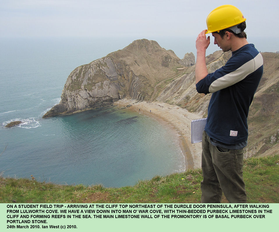 On a field trip to Durdle Door, near Lulworth Cove, Dorset, we arrive at the cliff top northeast of the Durdle Door peninsula, March 2010