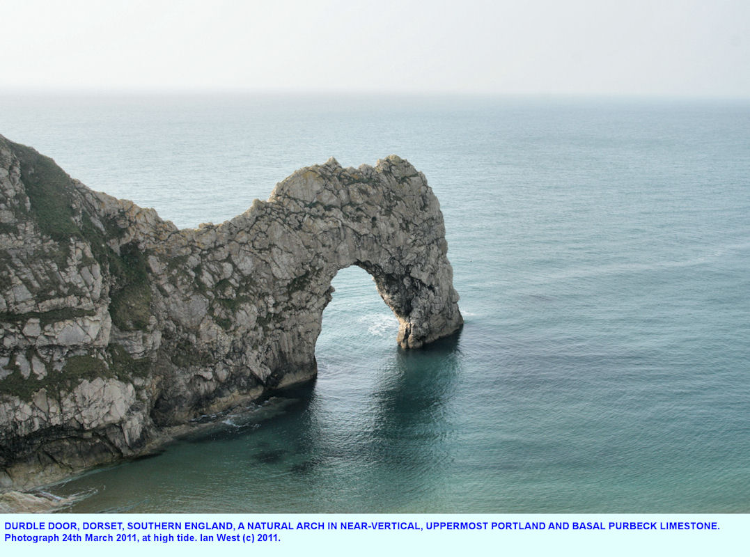 Durdle Door, near Lulworth Cove, Dorset, southern England, a natural arch in Jurassic limestone, 24th March 2011