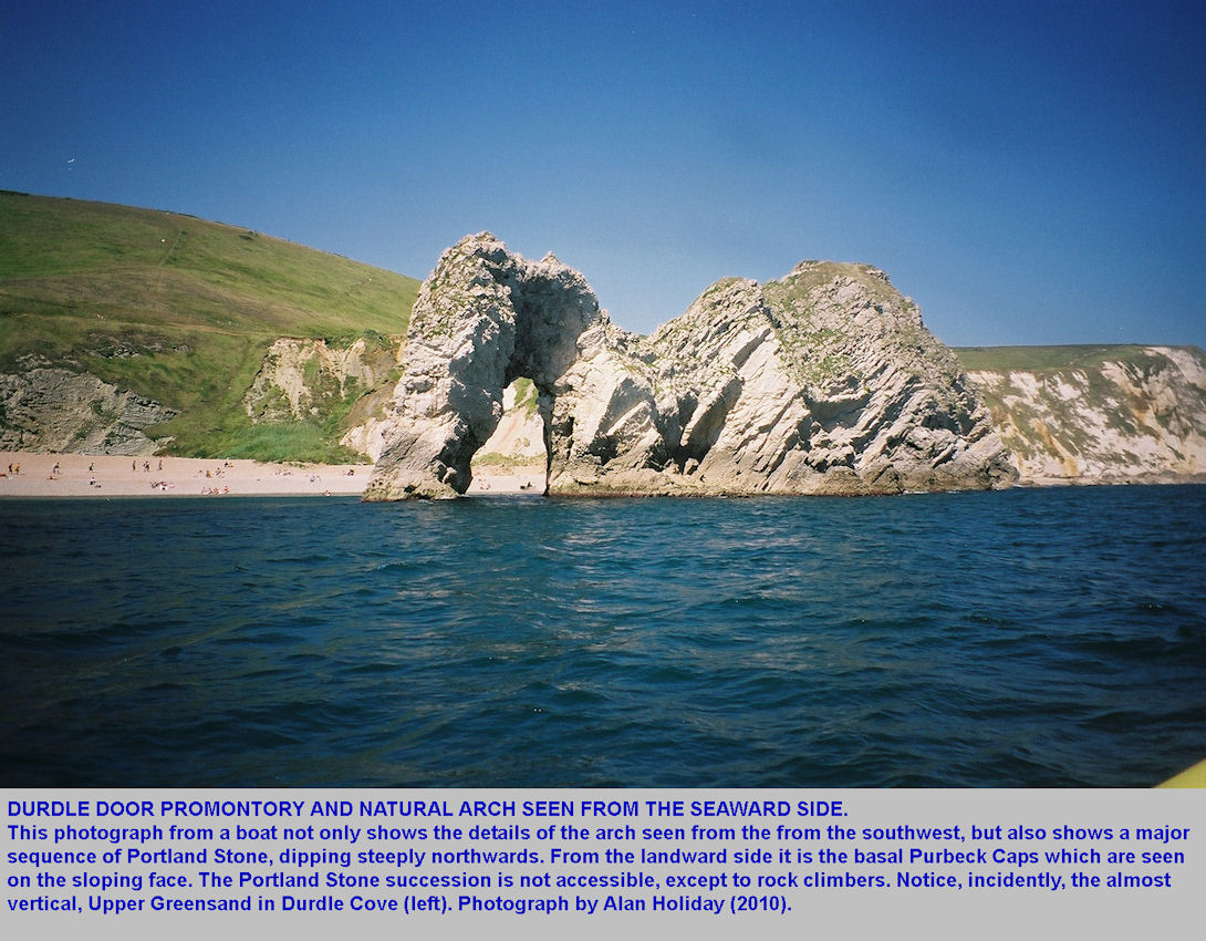 Durdle Door, near Lulworth Cove, Dorset, the seaward side seen from a boat, photograph by Alan Holiday, June 2010