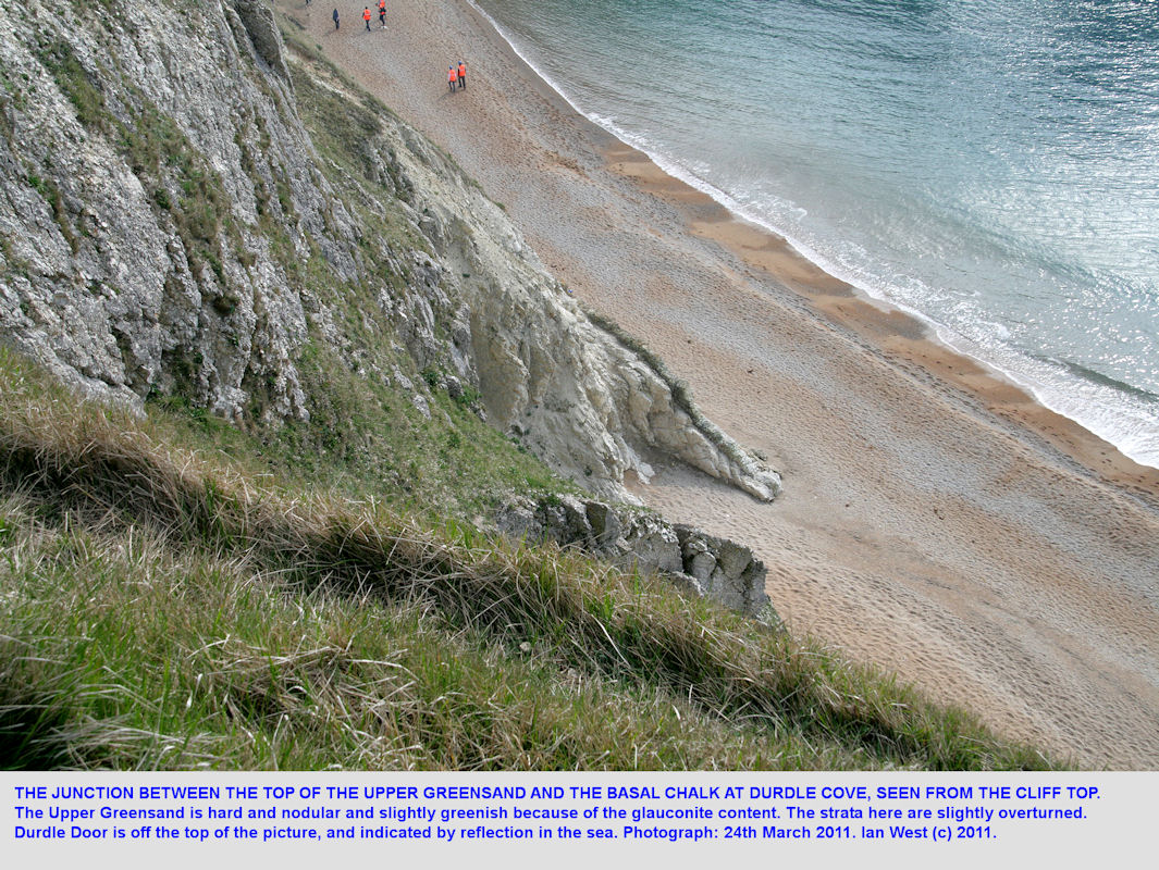 The Upper Greensand - Lower Chalk Junction at Durdle Cove, near Durdle Door, Lulworth, seen from above, 24th March 2011