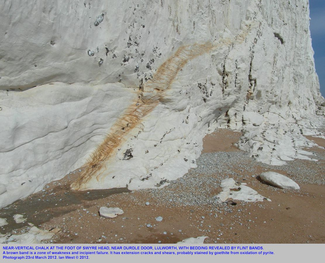 Vertical Chalk at the base of Swyre Head, west of Durdle Door, near Lulworth Cove, Dorset, 23rd March 2012