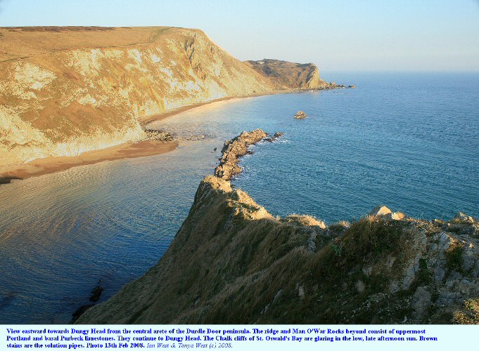 View eastward towards Dungy Head from the central arete of the Durdle Door peninsula, near Lulworth Cove, Dorset, 2008