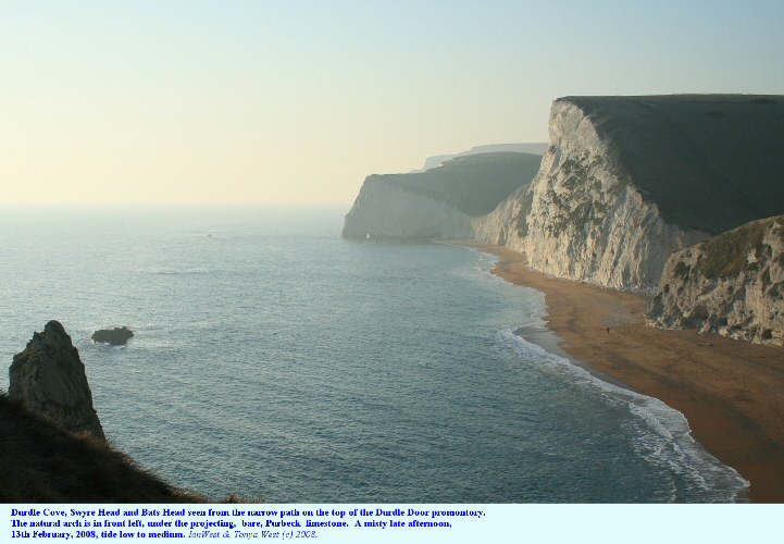 View from the top of the Durdle Door promontory westward to Bats Head, Dorset, 2008